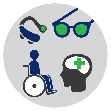 Icons of a hearing aid, a pair of glasses, a person in a wheelchair and a brain icon