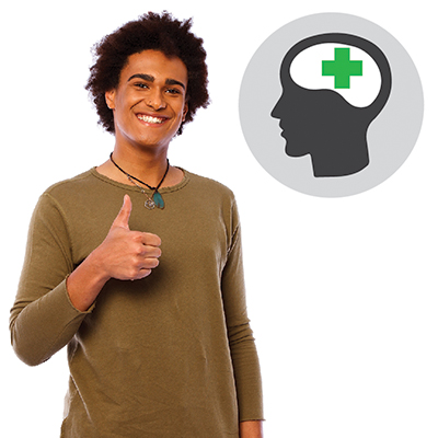 A man smiling with thumbs up, with a brain icon