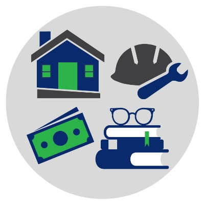 Icons of a house with a ramp, a hard hat and a spanner, a money note and books with reading glasses