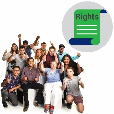 A group of people with their thumbs up with a rights icon next to them