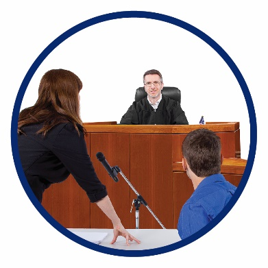 A man and a woman talking to a judge in court