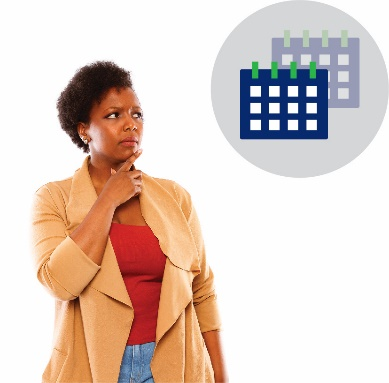A woman thinking with calendar icons next to her