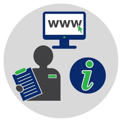 Icons of a computer with a website on it, an information icon and a person wearing a badge and holding a clipboard